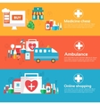 set of banners flat medical icons vector image vector image