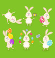 Set of cute easter rabbits with easter eggs and