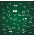 Set of Emotions cartoon on green board vector image