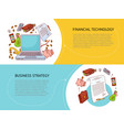 set of two horizontal finance and business banners vector image