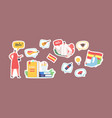 set stickers characters learn spanish language vector image
