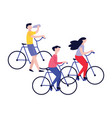 set young healthy people on bicycle ride vector image