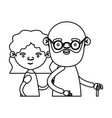 Sketch silhouette half body elderly couple in vector image