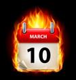 tenth march in calendar burning icon on black vector image vector image
