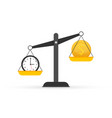 time is money on scales icon money and time vector image vector image