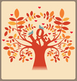 Tree with love message and doves vector image