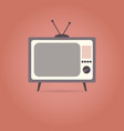 tv flat icon on red background vector image vector image