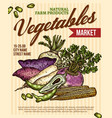 vegetable market poster with veggies vector image vector image