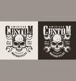 vintage custom motorcycle monochrome print vector image vector image
