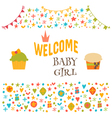 Welcome baby girl Baby girl shower card Baby vector image vector image