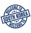 welcome to south korea blue stamp vector image vector image