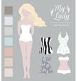 Girl model swimwear mockup Cute dress up paper vector image