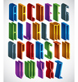 3d font tall thin letters geometric dimensional vector image