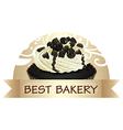 A best bakery label with a chocolate cupcake vector image vector image