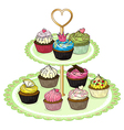 A cupcake tray with cupcakes vector image vector image