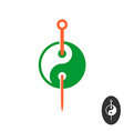 Acupuncture logo concept with needle and yin yang vector image vector image