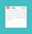 april 2018 calendar calendar planner design vector image