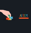autism awareness day puzzle game kid banner vector image vector image