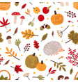autumn hand drawn seamless pattern fall vector image