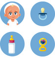 bapacifier milk bottle and rattle toy icon set vector image