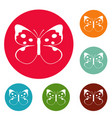 big butterfly icons circle set vector image