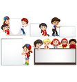Boys and girls with whiteboard vector image