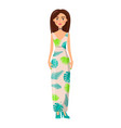brunette girl in long summer dress with chocker vector image vector image