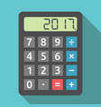 calculator showing 2017 year vector image vector image