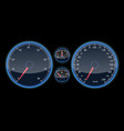 car speedometer panel view at night on the panel vector image