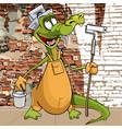 cartoon character funny crocodile in the attire vector image vector image