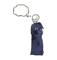cartoon skeleton in black robe with thought bubble vector image vector image