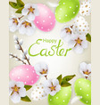 cherry blossom and easter colorful eggs vector image vector image