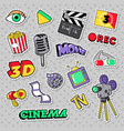 cinema film television patches badges vector image vector image