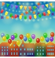 City holiday background with balloon vector image