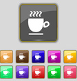 Coffee cup sign Set with eleven colored buttons vector image vector image