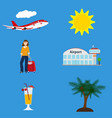 collection of vacation symbols airport flying vector image vector image