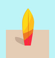 colorful surfboard in hot sand vector image