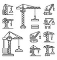 construction cranes icons set on white background vector image