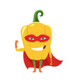 cute cartoon smiling pepper superhero in mask and vector image