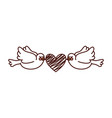 cute doves flying with heart vector image vector image
