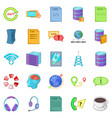 data center icons set cartoon style vector image