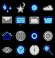 Design useful web icons on black background vector image vector image