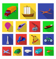 different types of transport flat icons in set vector image vector image