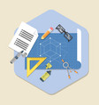 engineering planning symbol blueprint icon in vector image