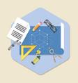 engineering planning symbol blueprint icon in vector image