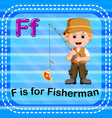 flashcard letter f is for fisherman vector image vector image