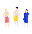 flat men in towel bathrobe hair removal set vector image