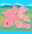flock of pigs farm animal characters group vector image vector image