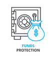 funds protection concept outline icon linear vector image