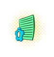 Gear wheel and sheet of paper icon comics style vector image